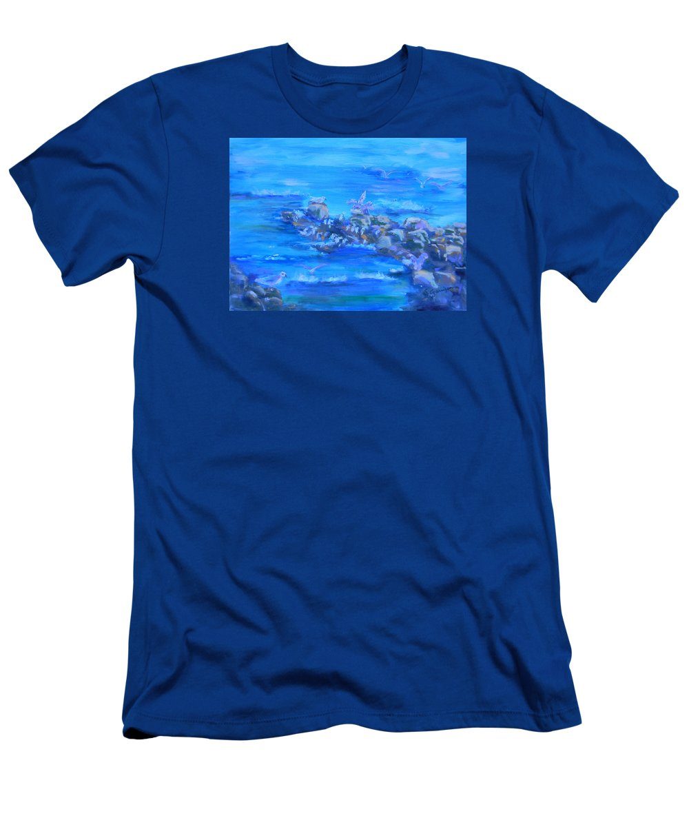 Seascape Men's T-Shirt (Athletic Fit) featuring the painting Morning Gulls by Sandra Garrigan