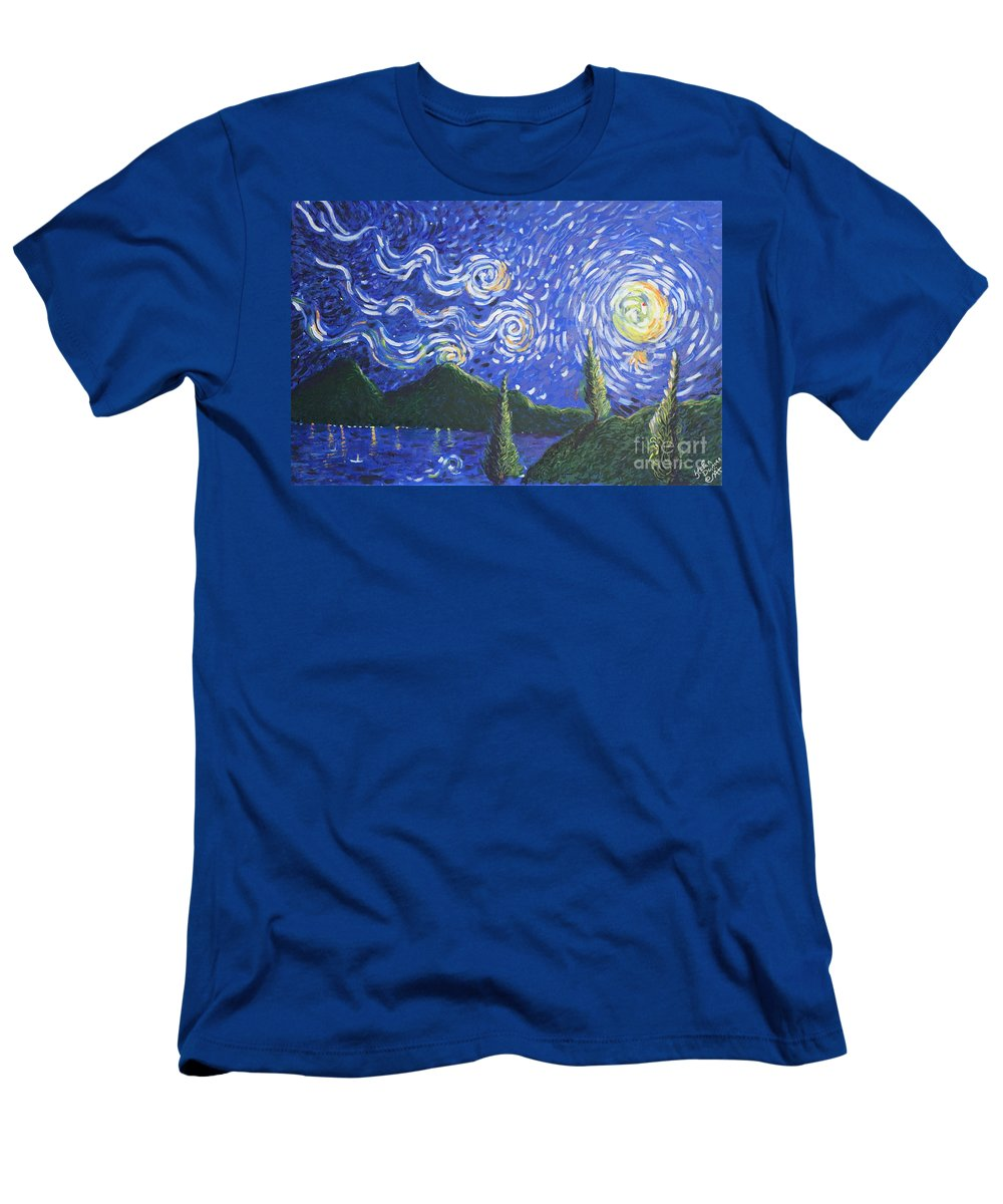 Landscape Men's T-Shirt (Athletic Fit) featuring the painting Mountain Loch by Stefan Duncan