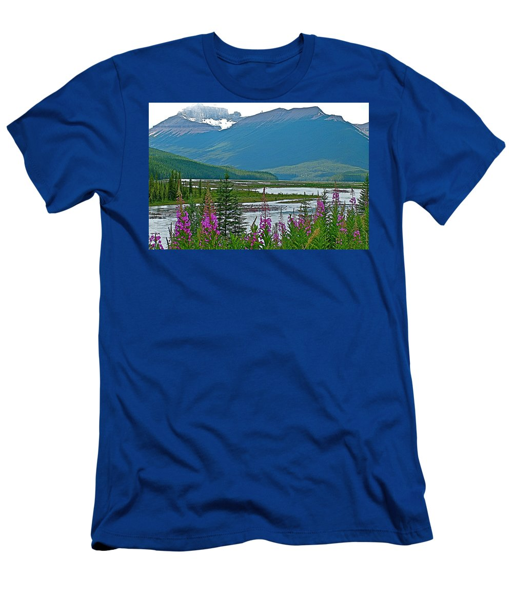 Mountains And Fireweed Along North Sascatchewan River Along Icefield Parkway Men's T-Shirt (Athletic Fit) featuring the photograph Mountains And Fireweed Along North Sascatchewan River Along Icefield Parkway-ab by Ruth Hager
