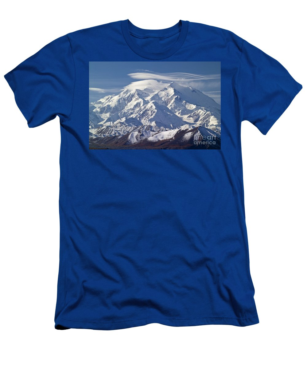Alaska Mountain Men's T-Shirt (Athletic Fit) featuring the photograph Mt. Mckinley by John Shaw