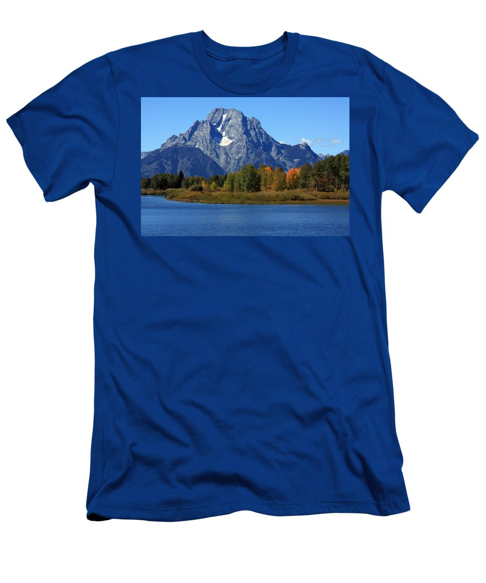 Grand Tetons Men's T-Shirt (Athletic Fit) featuring the photograph Mt Moran View by Aidan Moran