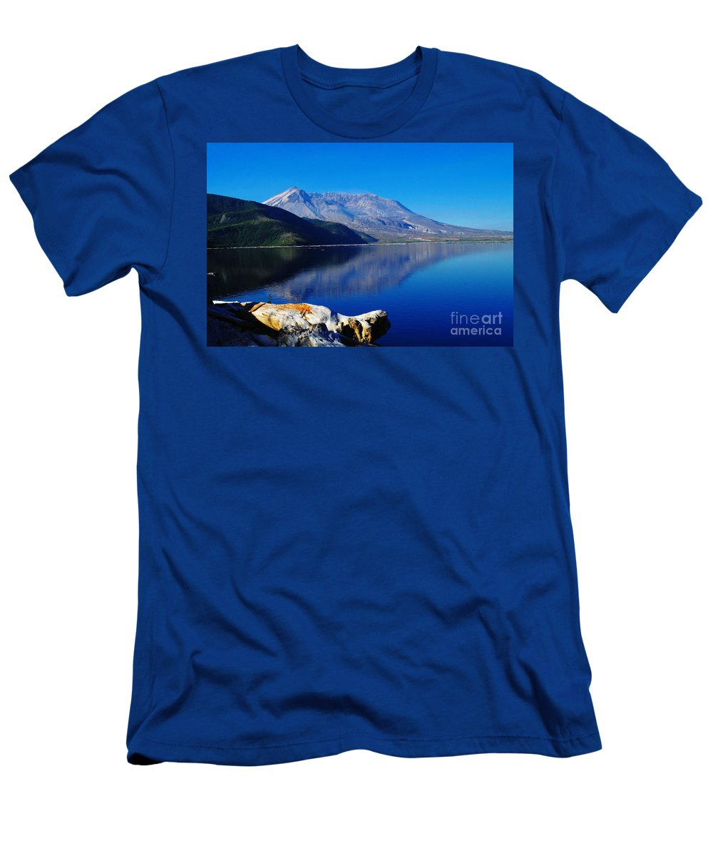 Mountains Men's T-Shirt (Athletic Fit) featuring the photograph Mt St Helens Reflecting Into Spirit Lake  by Jeff Swan