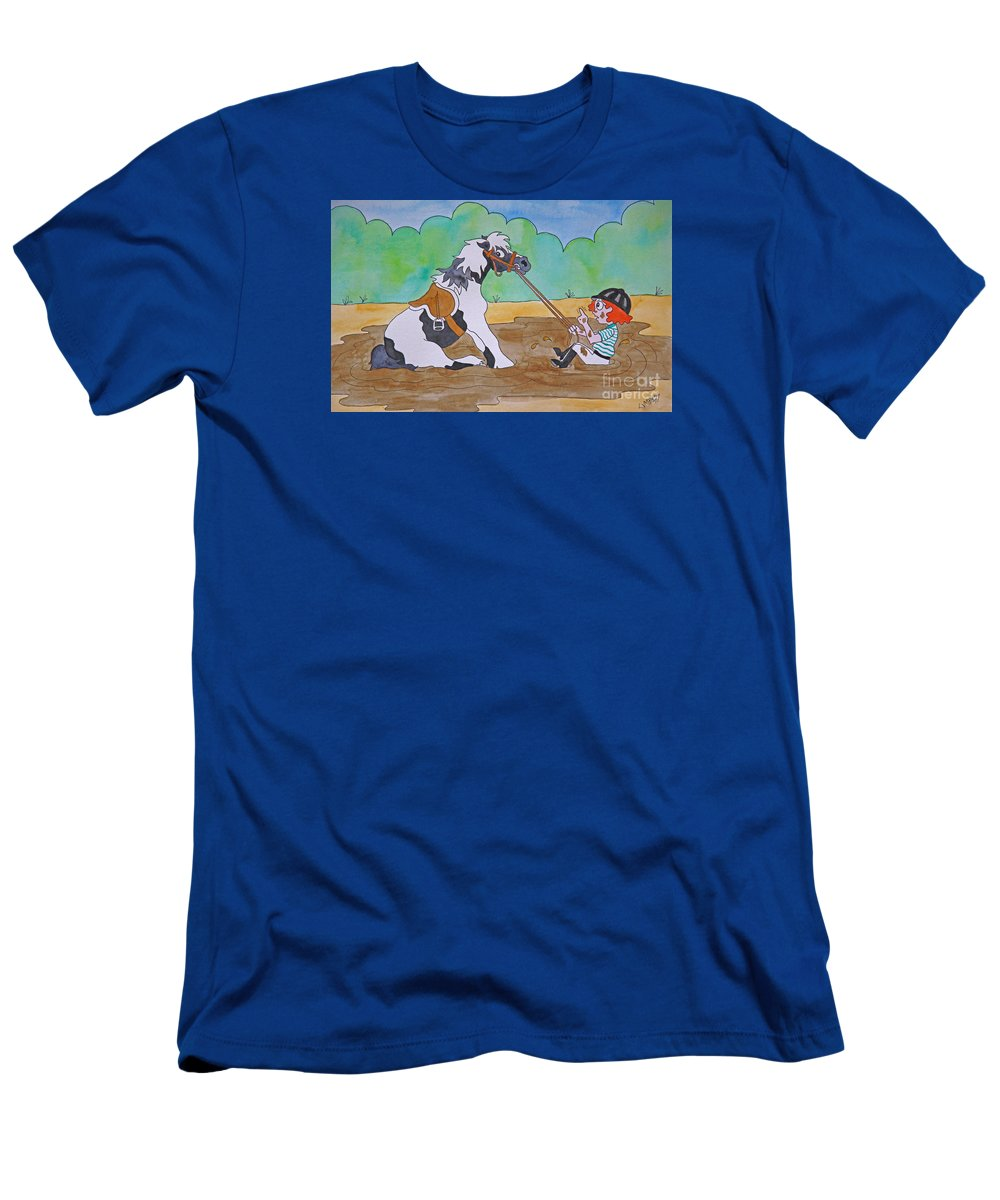 Horse Men's T-Shirt (Athletic Fit) featuring the painting Mud Pony by E Cumbess