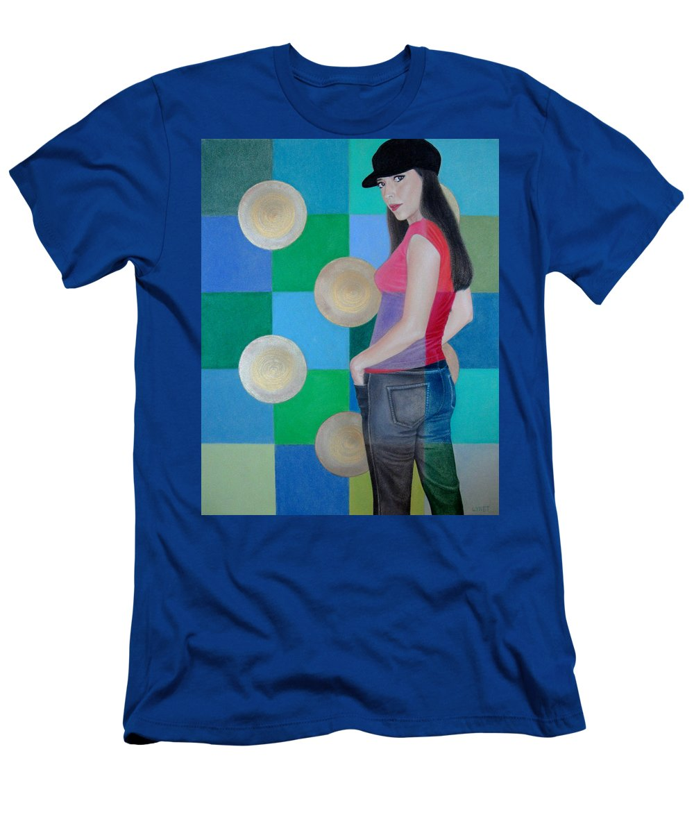 Black Cap Men's T-Shirt (Athletic Fit) featuring the painting My Black Cap by Lynet McDonald