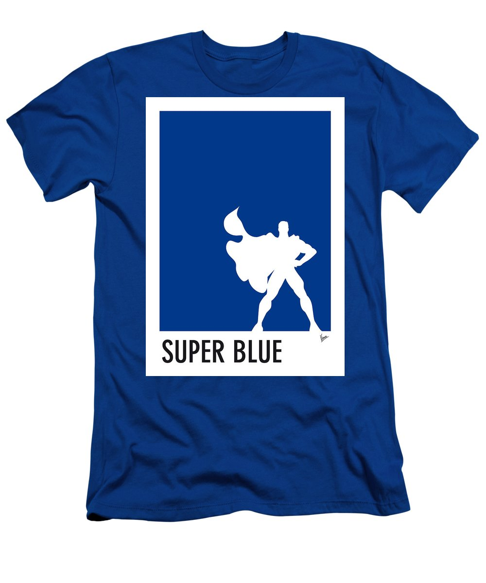 Superheroes Men's T-Shirt (Athletic Fit) featuring the digital art My Superhero 03 Super Blue Minimal Poster by Chungkong Art