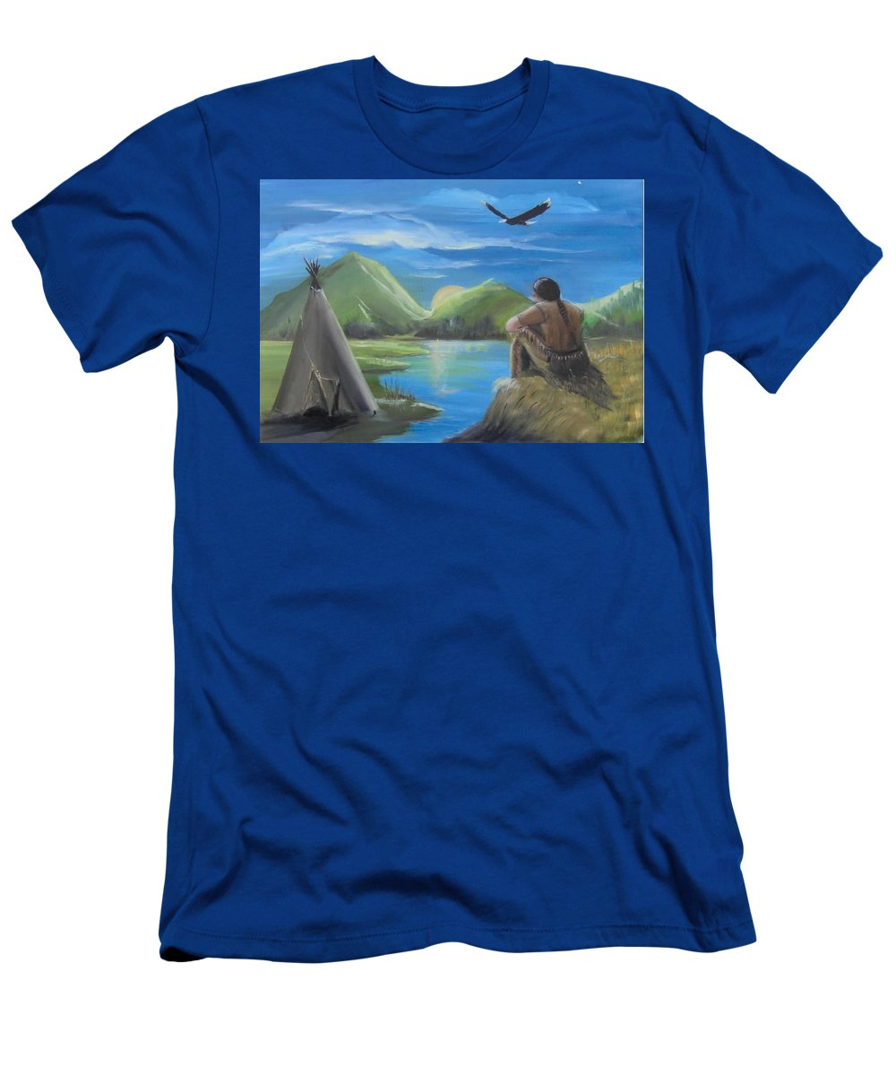 Native Americans Men's T-Shirt (Athletic Fit) featuring the painting My Vision by Catherine Swerediuk