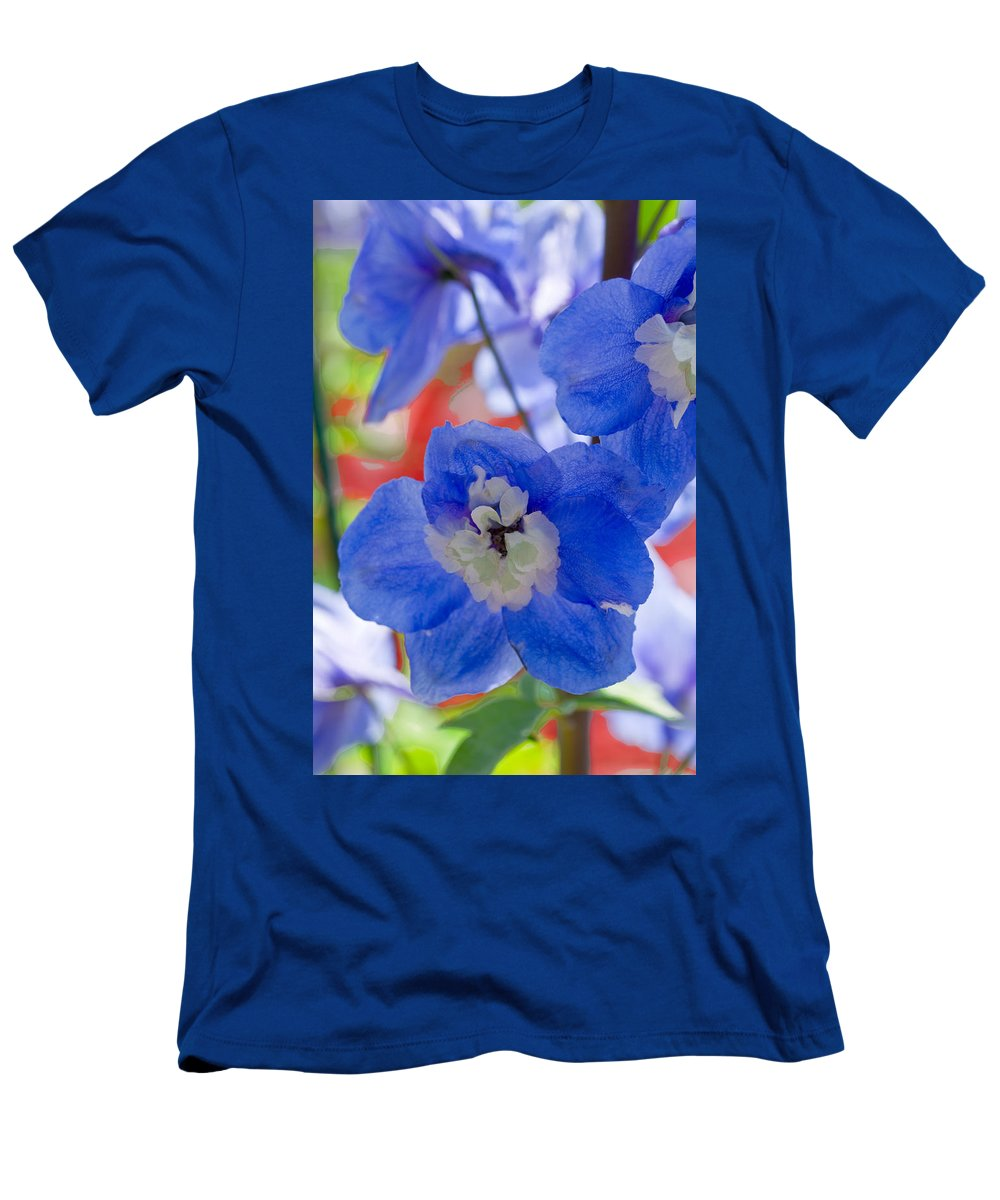 Blue Flowers Men's T-Shirt (Athletic Fit) featuring the photograph Nature's Painting by Marie Jamieson