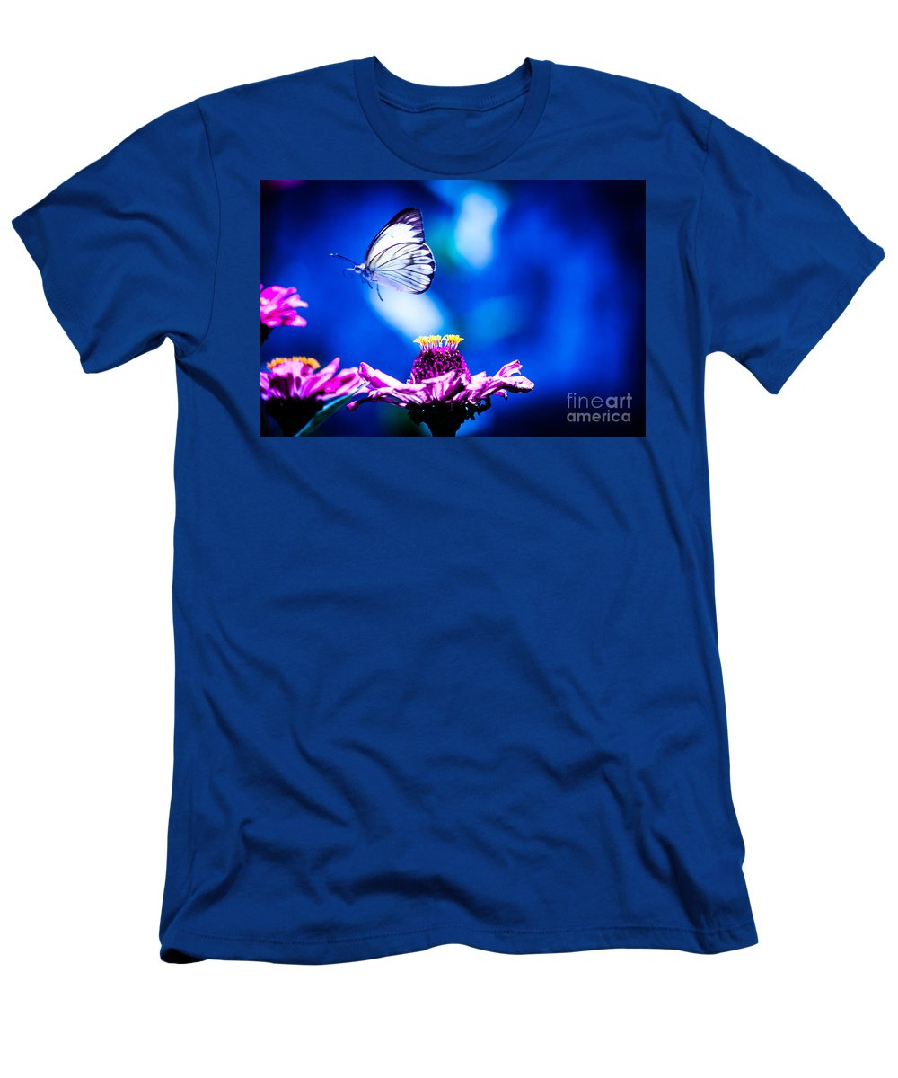 Butterfly Men's T-Shirt (Athletic Fit) featuring the photograph Neon Butterfly by Carolina Mendez