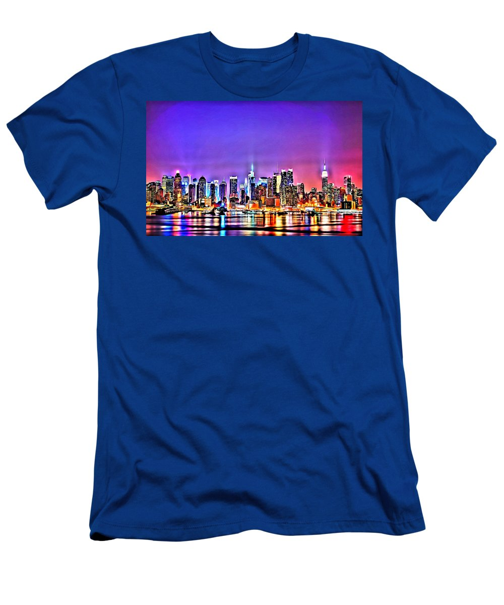 Black Men's T-Shirt (Athletic Fit) featuring the painting New York At Night by Florian Rodarte