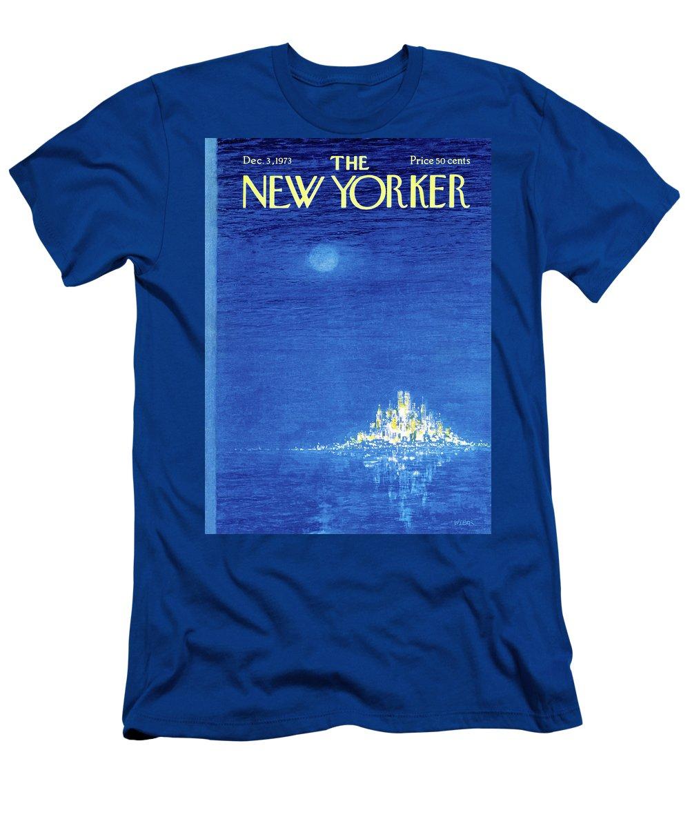 Robert Weber Men's T-Shirt (Athletic Fit) featuring the painting New Yorker December 3rd, 1973 by Robert Weber