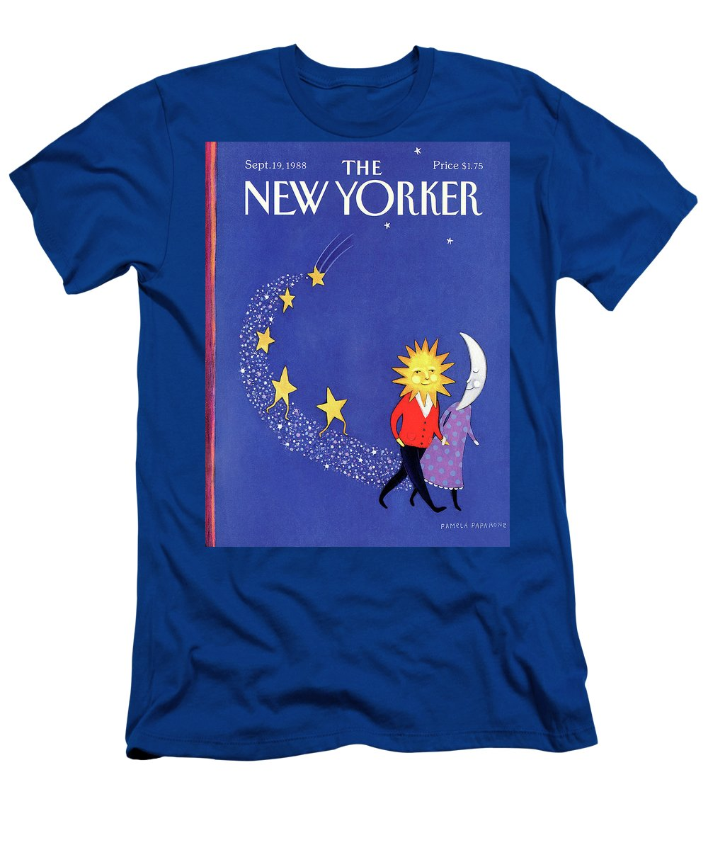 Night Men's T-Shirt (Athletic Fit) featuring the painting New Yorker September 19th, 1988 by Pamela Paparone