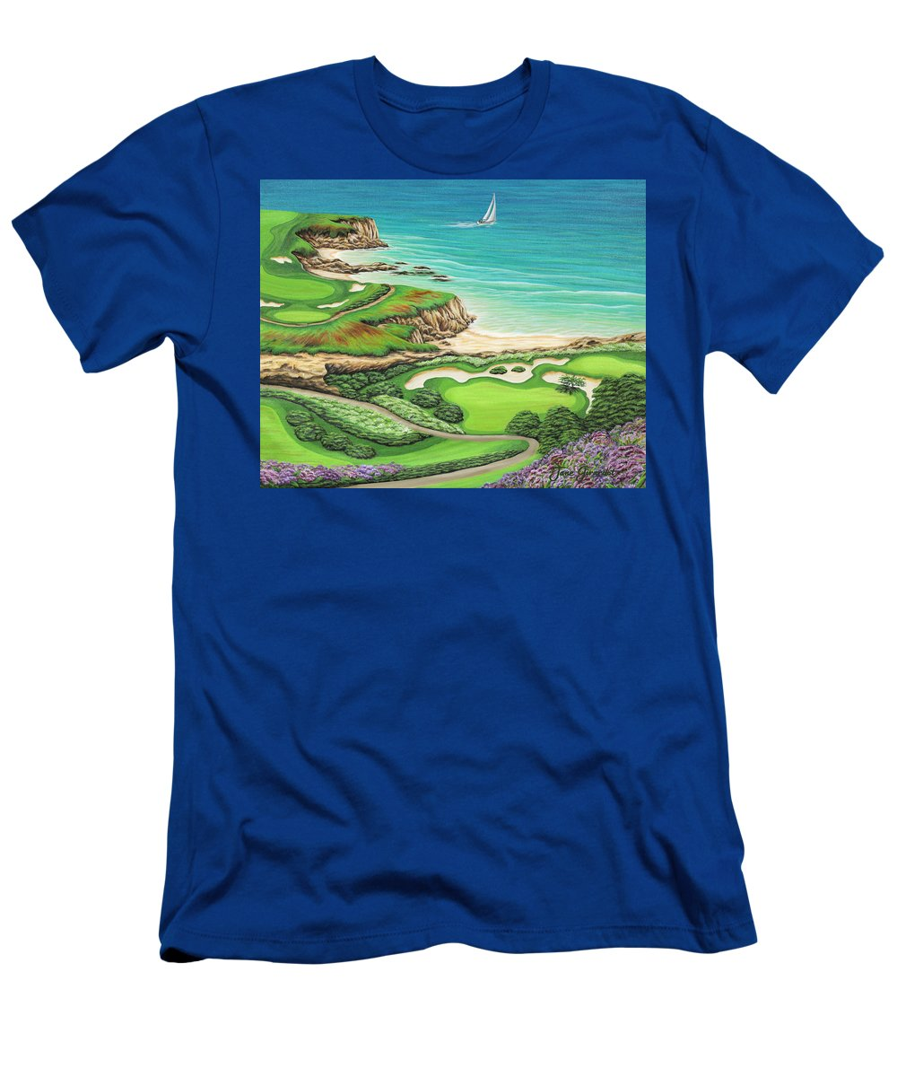 Ocean Men's T-Shirt (Athletic Fit) featuring the painting Newport Coast by Jane Girardot
