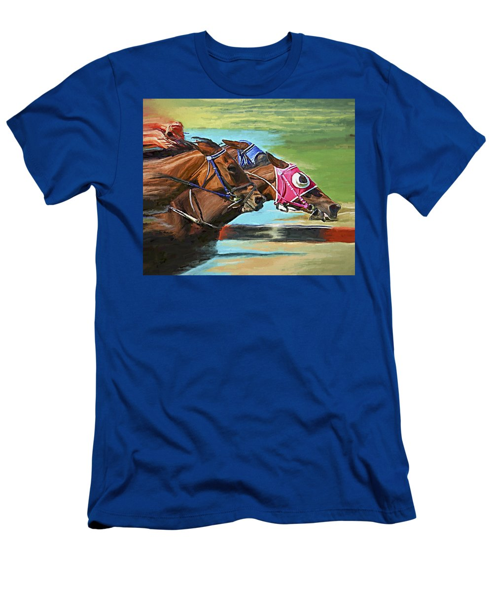 Horses T-Shirt featuring the painting Nikita By A Head by David Wagner
