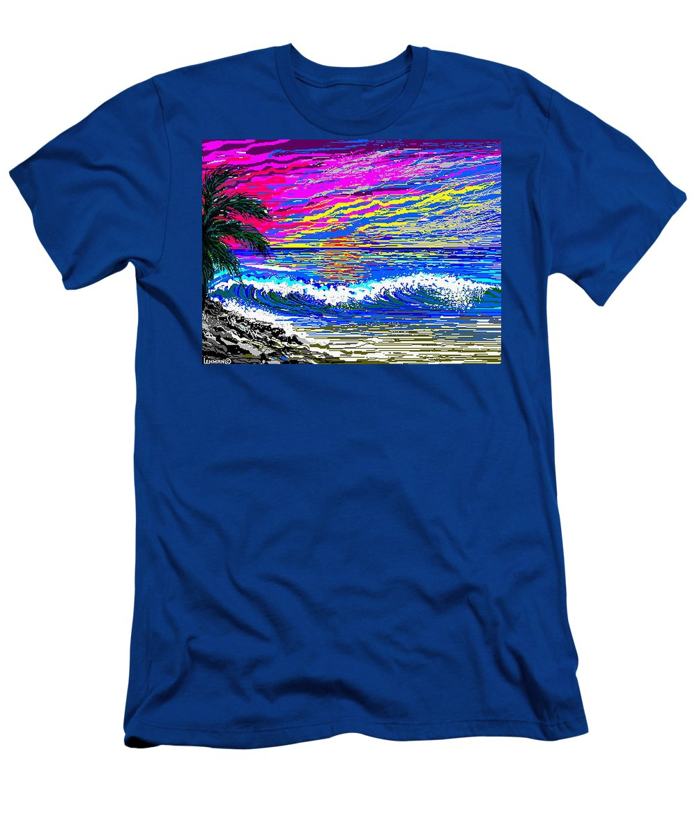 Ocean Sunset Quickly Sketched In 3 Hours. Men's T-Shirt (Athletic Fit) featuring the digital art Ocean Sunset by Larry Lehman