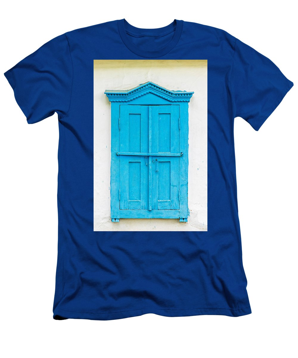 Kiev Men's T-Shirt (Athletic Fit) featuring the photograph Old Wooden Window by Alain De Maximy