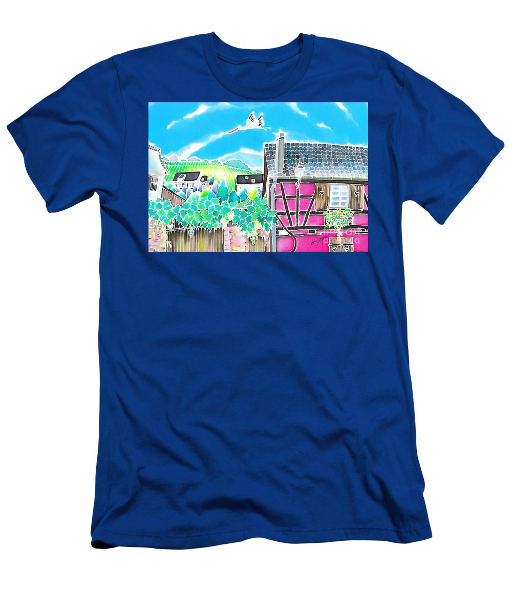 France Men's T-Shirt (Athletic Fit) featuring the painting On The Alsace Wine Route by Hisayo Ohta