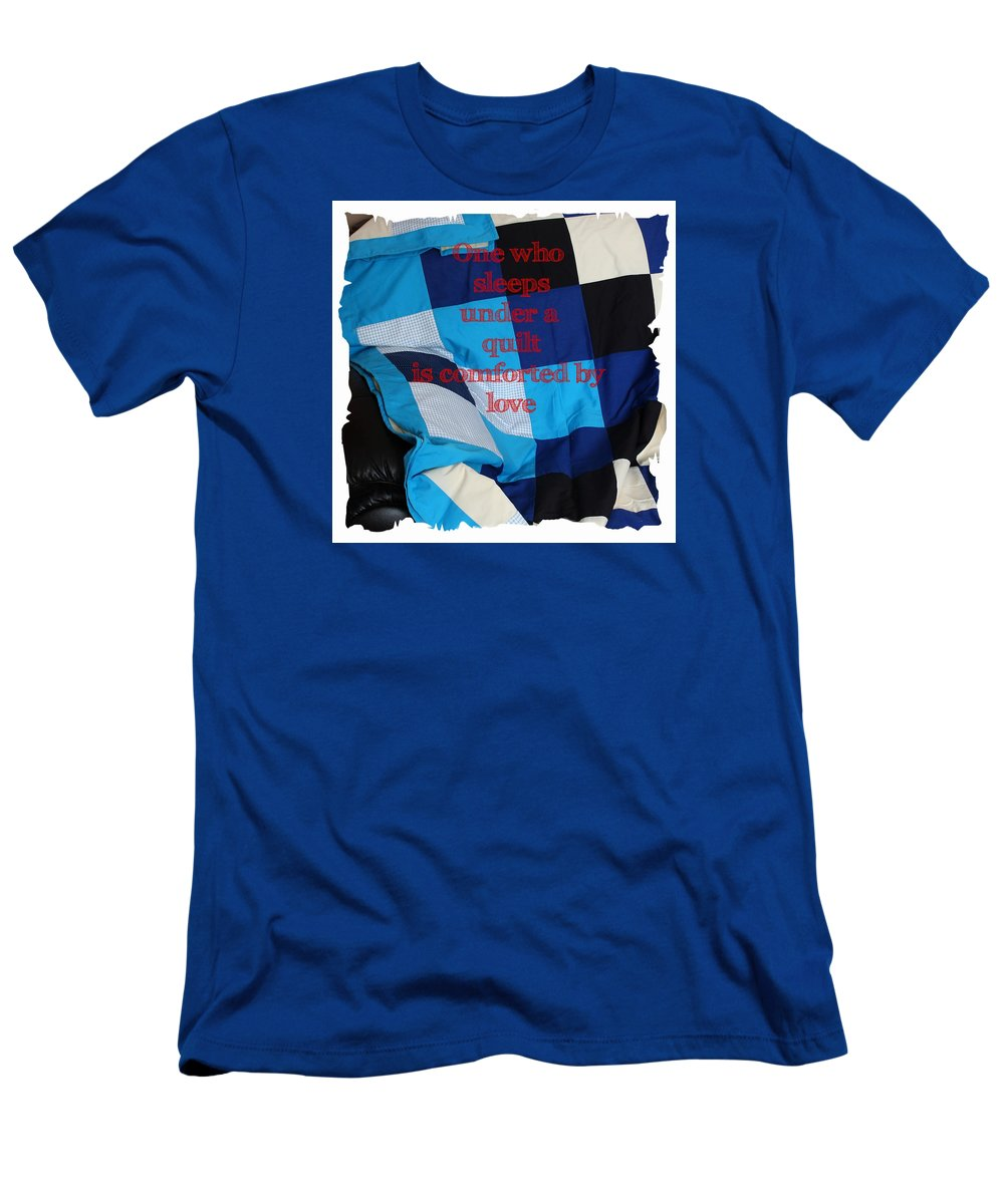 One Who Sleeps Under A Quilt Is Comforted By Love Men's T-Shirt (Athletic Fit) featuring the photograph One Who Sleeps Under A Quilt Is Comforted By Love by Barbara Griffin