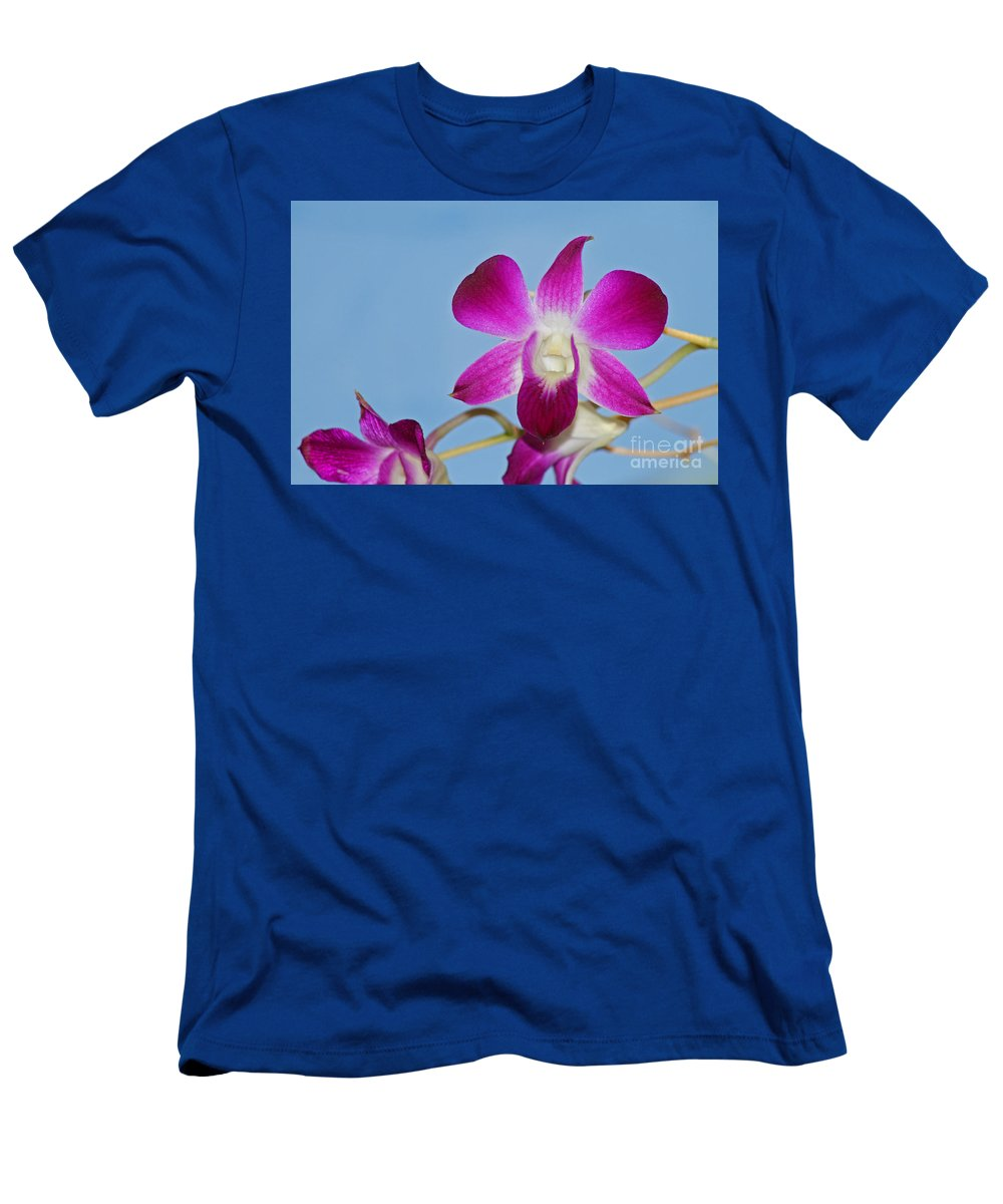 Orchid Men's T-Shirt (Athletic Fit) featuring the photograph Orchids With Blue Sky by Karen Adams
