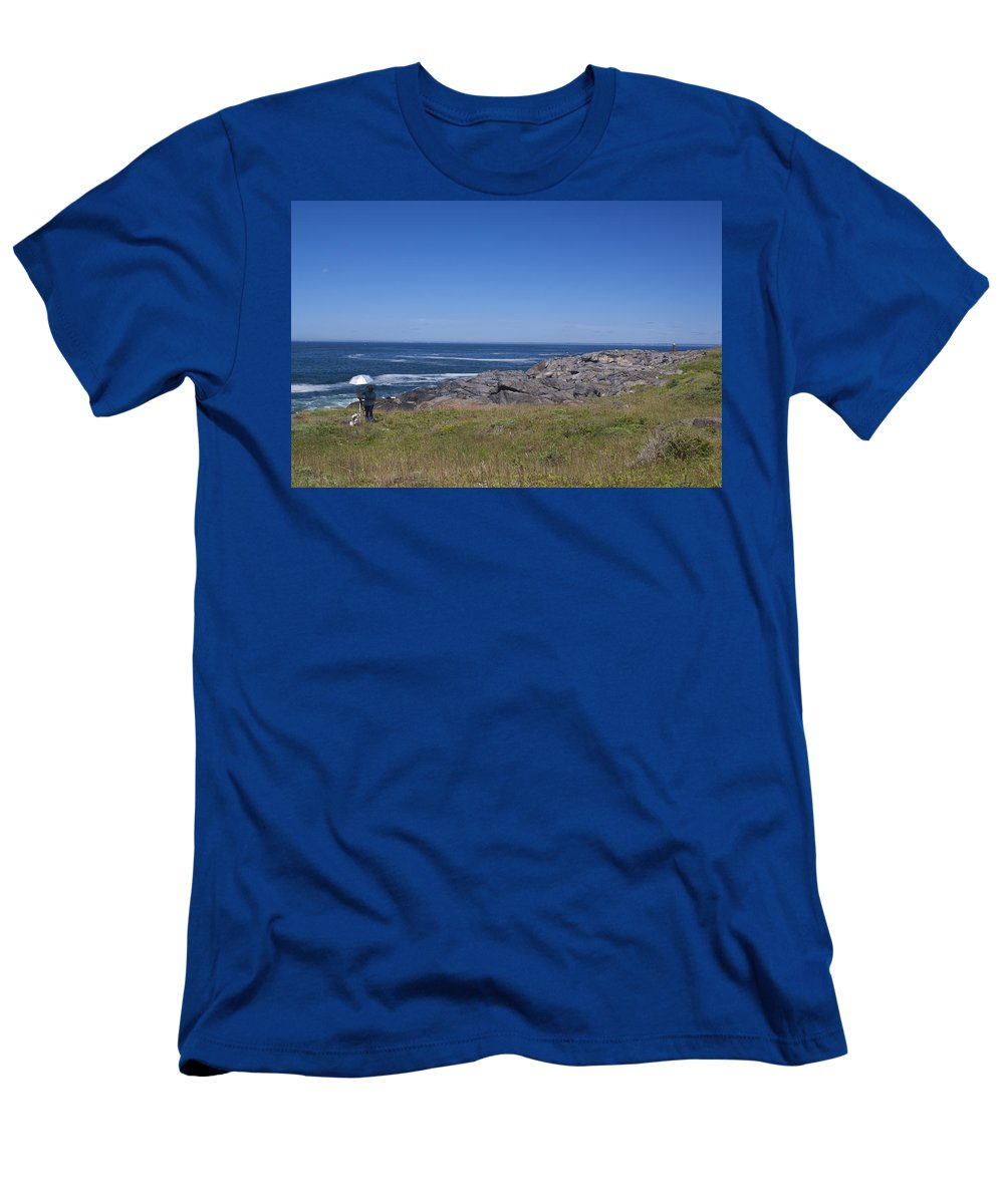Painting Men's T-Shirt (Athletic Fit) featuring the photograph Painting The Cove by Jean Macaluso