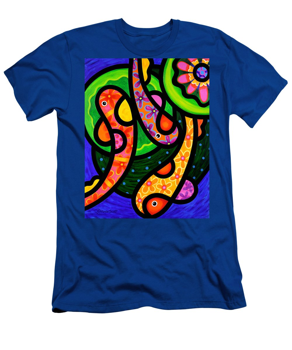 Koi Men's T-Shirt (Athletic Fit) featuring the painting Paisley Pond - Vertical by Steven Scott
