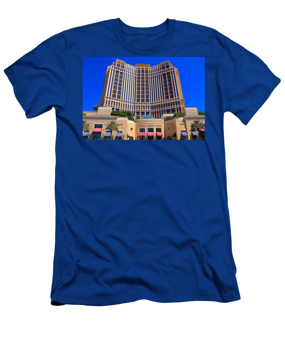 Palazzo Men's T-Shirt (Athletic Fit) featuring the photograph Palazzo Las Vegas Front View by Eti Reid