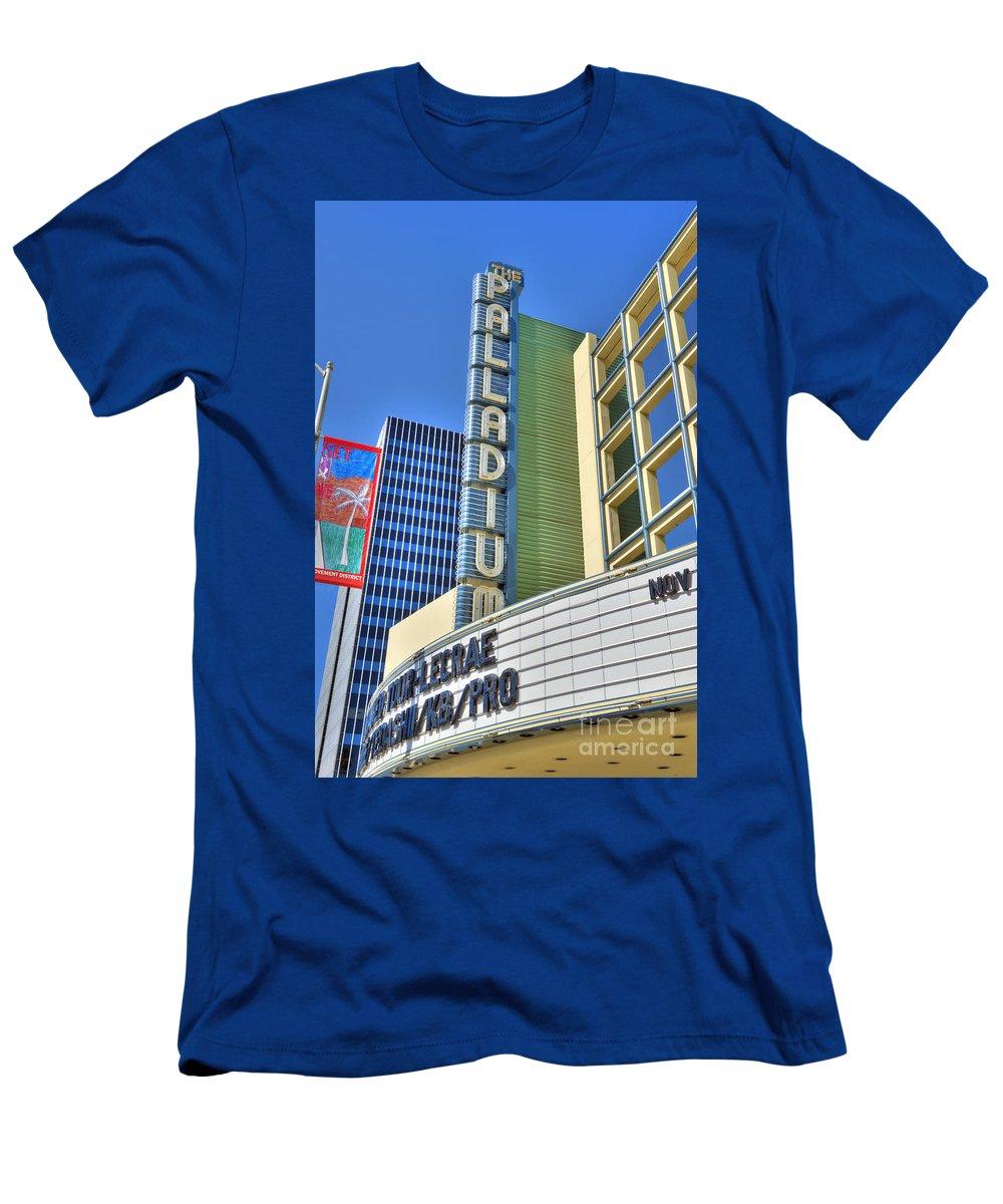 Palladium Men's T-Shirt (Athletic Fit) featuring the photograph Palladium Hollywood Ca World-class Entertainment by David Zanzinger