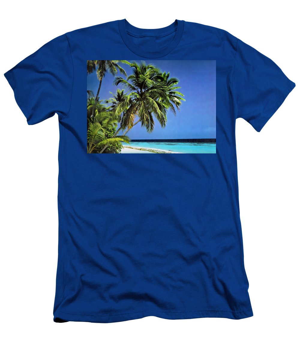 Duane Mccullough Men's T-Shirt (Athletic Fit) featuring the photograph Palm Trees On Little Palm Island Filtered by Duane McCullough