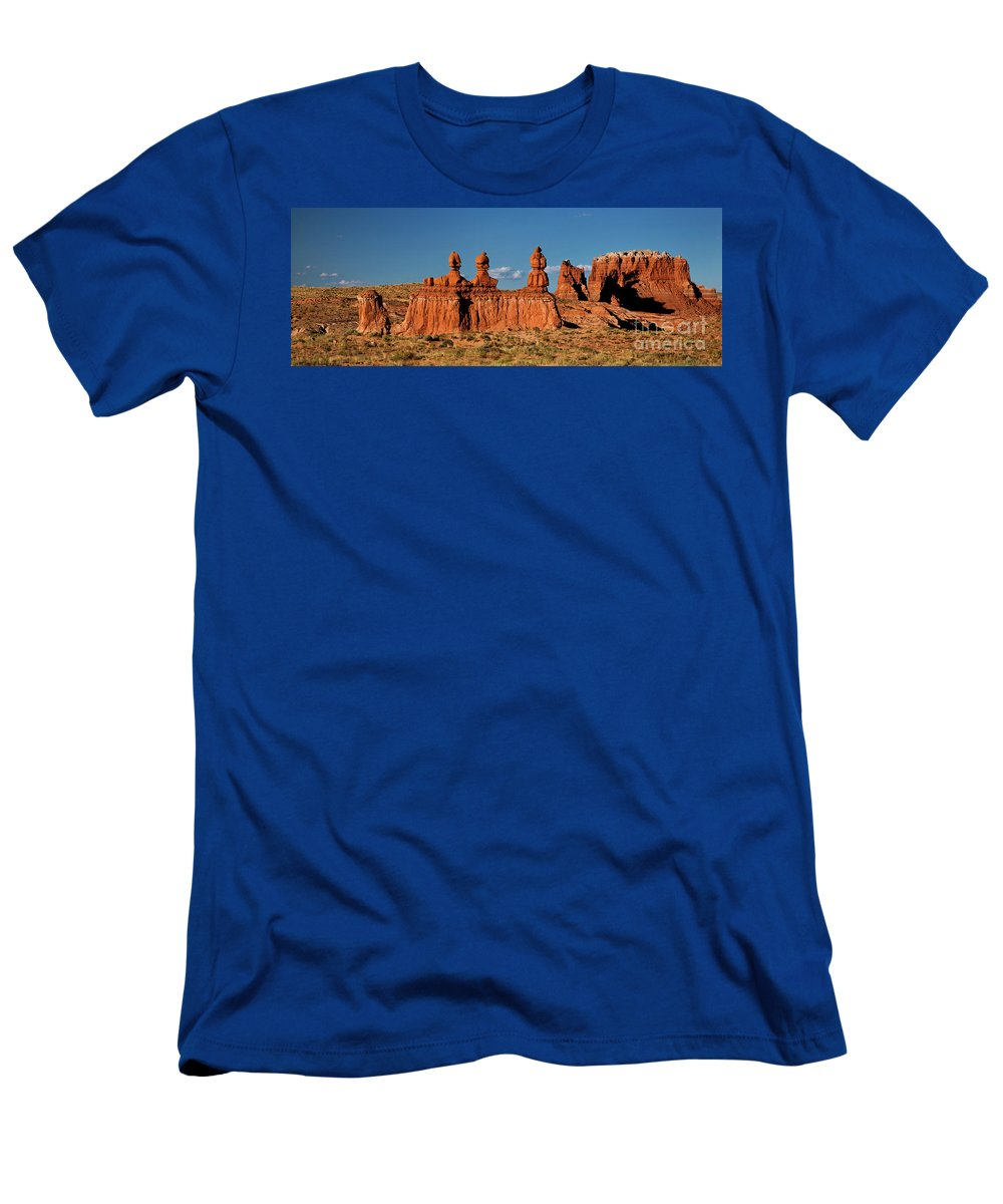 North America Men's T-Shirt (Athletic Fit) featuring the photograph Panorama Three Sisters Hoodoo Goblin Valley Utah by Dave Welling