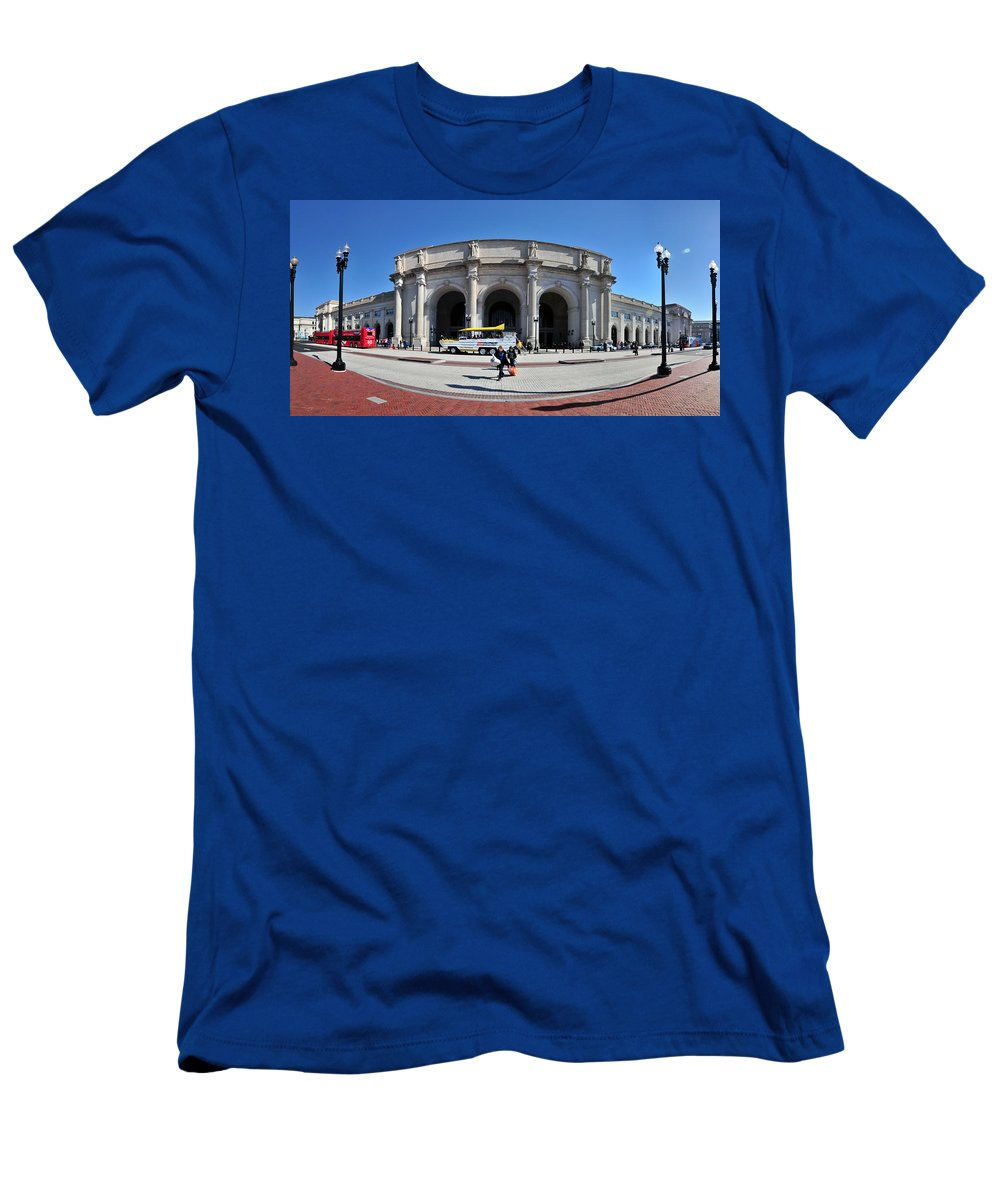 Flagpole Men's T-Shirt (Athletic Fit) featuring the photograph panoramic View of Union station in Washington DC by Alex Grichenko