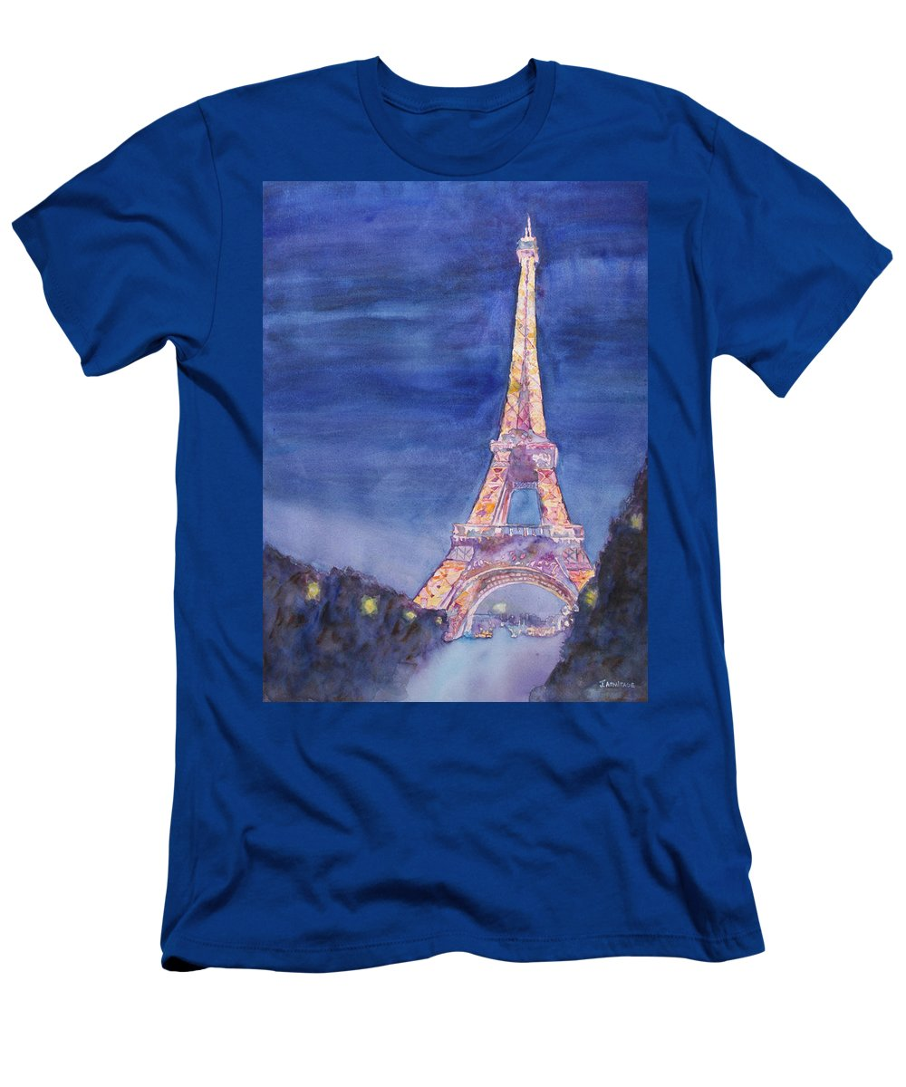 Paris Giant Watercolor Eiffel Tower Night Lighted Blue Gold Yellow Drama Dramatic Time Evening Wet Rain Rainy Dark France T-Shirt featuring the painting Paris Giant by Jenny Armitage