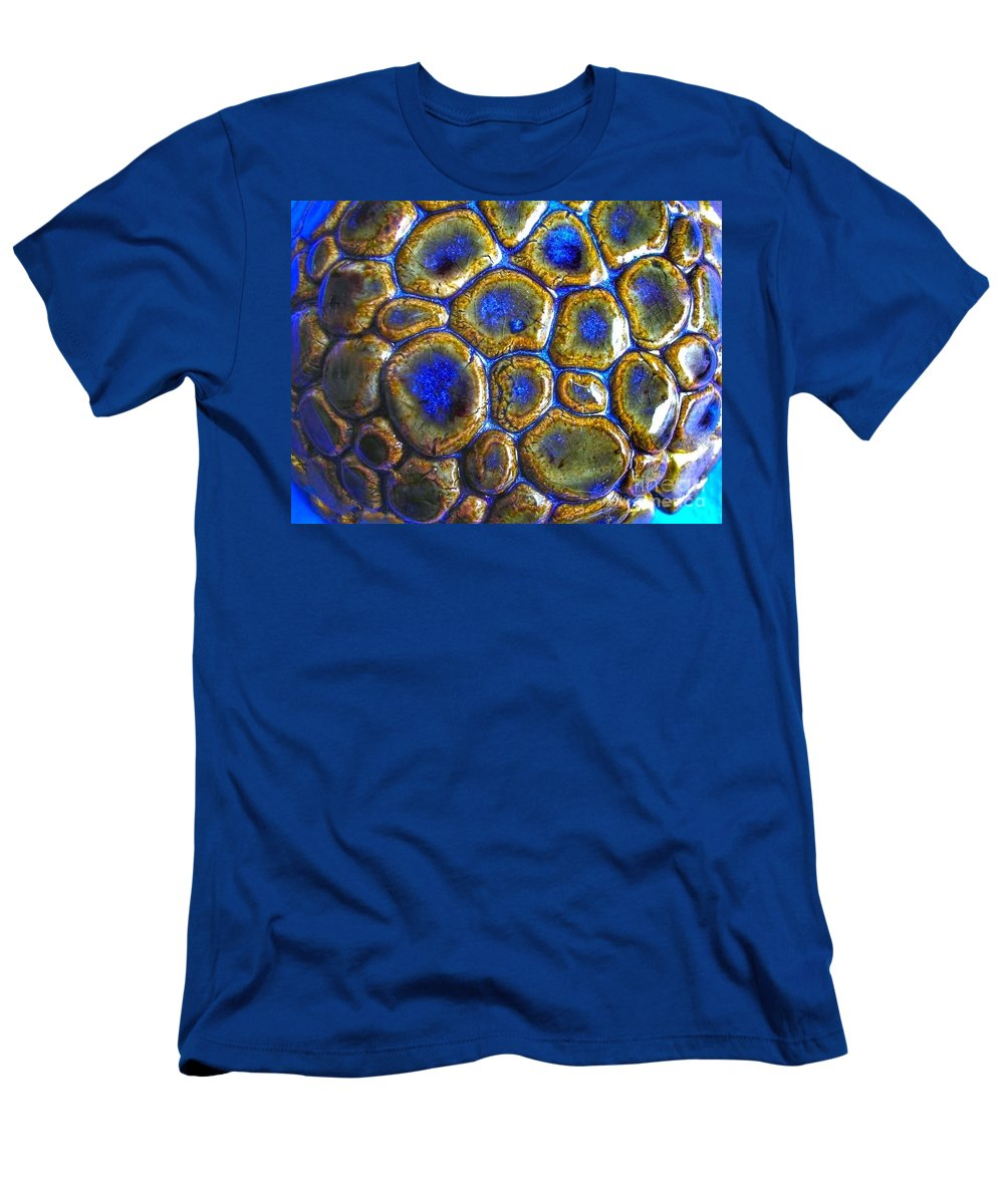 Pebbles Men's T-Shirt (Athletic Fit) featuring the ceramic art Pebbles Marbled Blue by Joan-Violet Stretch