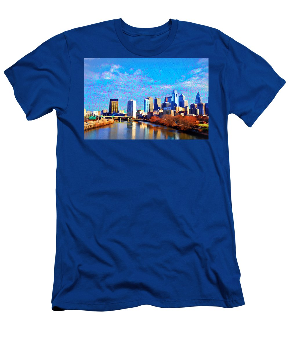 Philadelphia Men's T-Shirt (Athletic Fit) featuring the photograph Philadelphia Cityscape Rendering by Bill Cannon