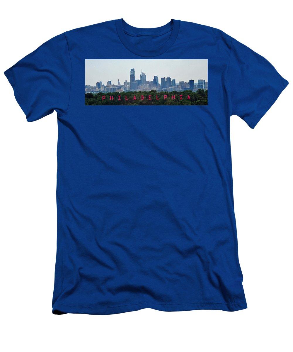 Philadelphia Men's T-Shirt (Athletic Fit) featuring the photograph Philadelphia Skyline Poster by Ian MacDonald