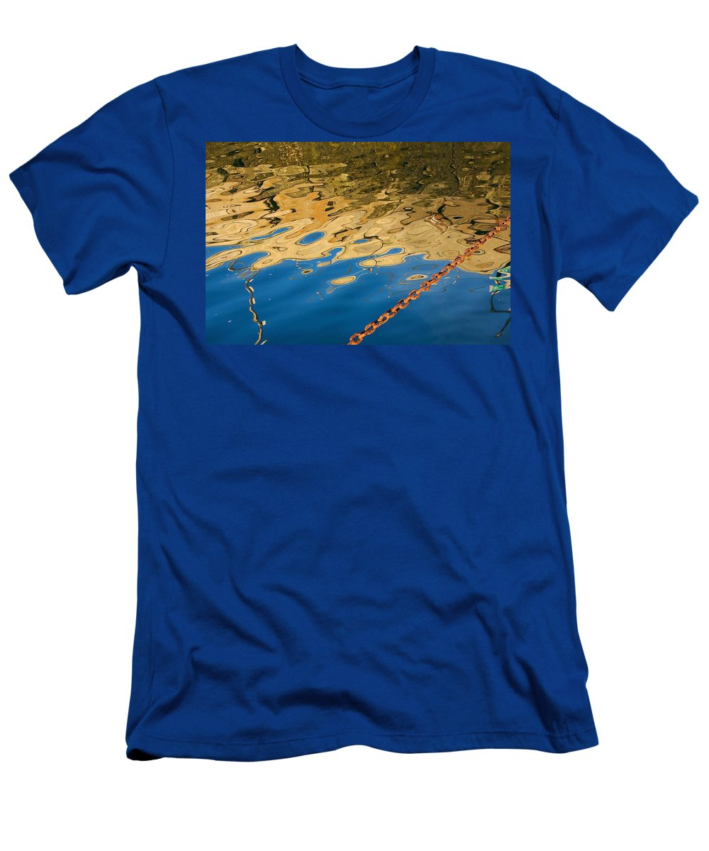 Abstract Men's T-Shirt (Athletic Fit) featuring the photograph Pier Reflection And Rusty Chain by Stuart Litoff