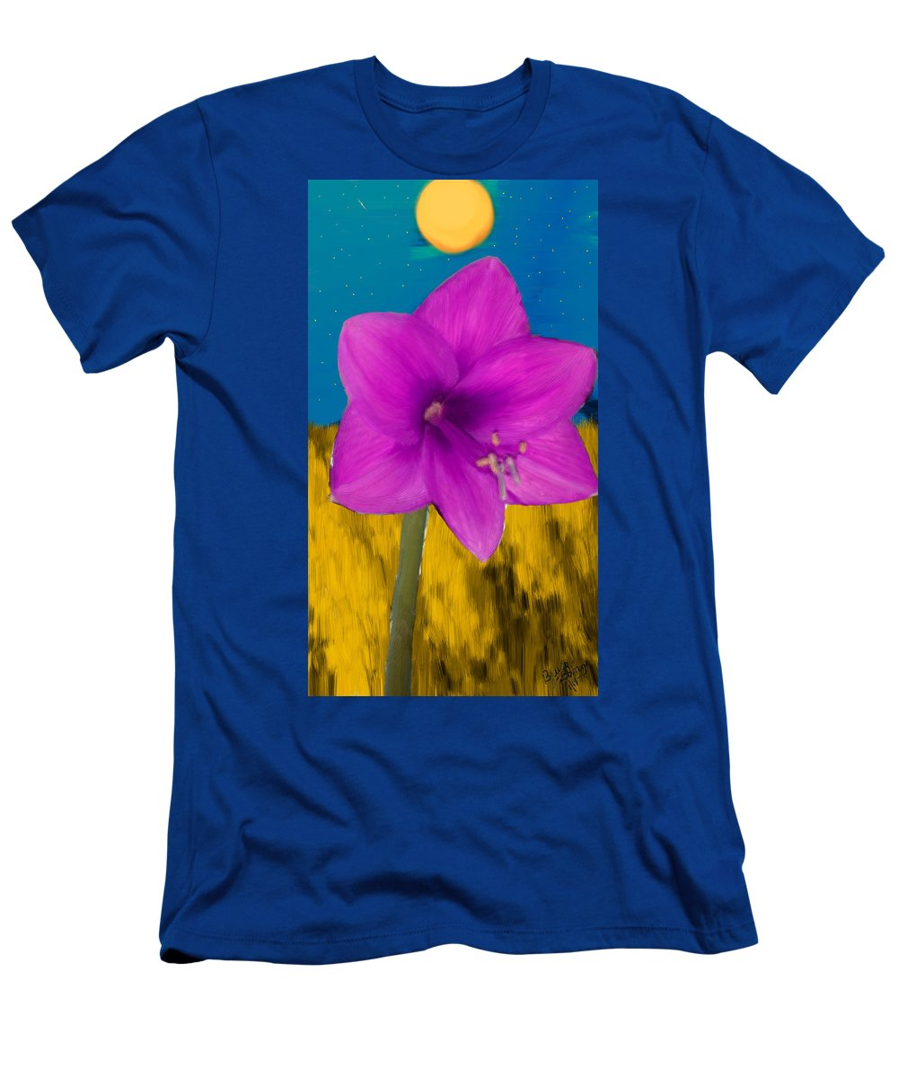 Pink Men's T-Shirt (Athletic Fit) featuring the painting Pink Flower On A Fall Evening by Bruce Nutting