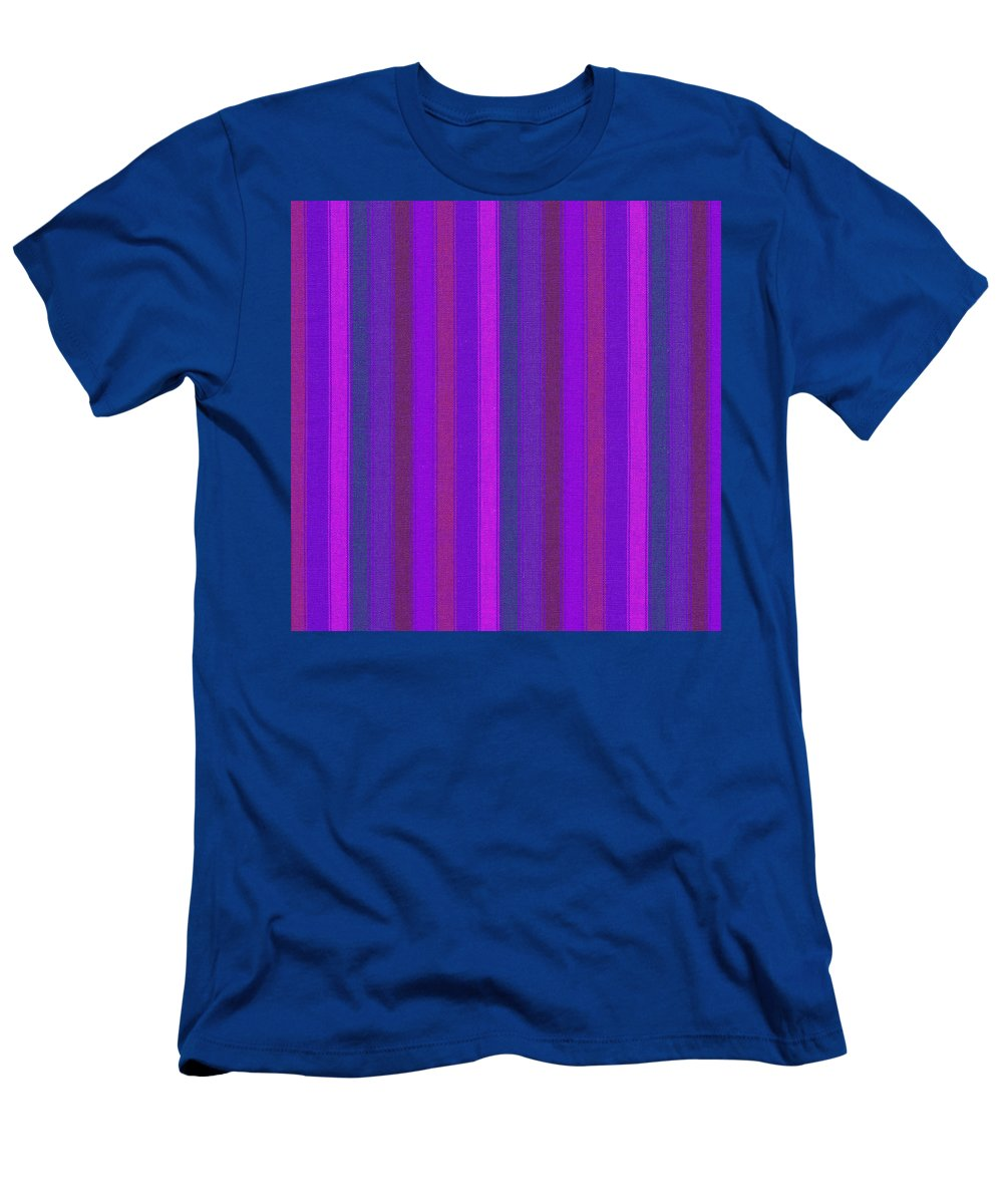 Texture Men's T-Shirt (Athletic Fit) featuring the photograph Pink Purple And Blue Striped Textile Background by Keith Webber Jr