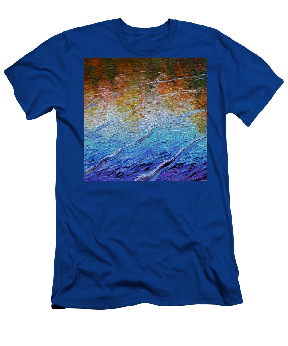 Reflections On Water Men's T-Shirt (Athletic Fit) featuring the painting Placid by Les Lyden