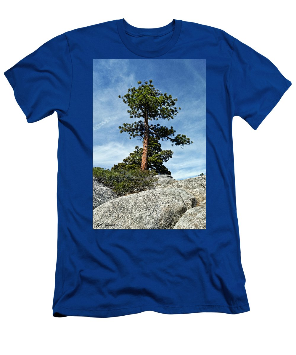 Beauty In Nature Men's T-Shirt (Athletic Fit) featuring the photograph Ponderosa Pine And Granite Boulders by Jeff Goulden