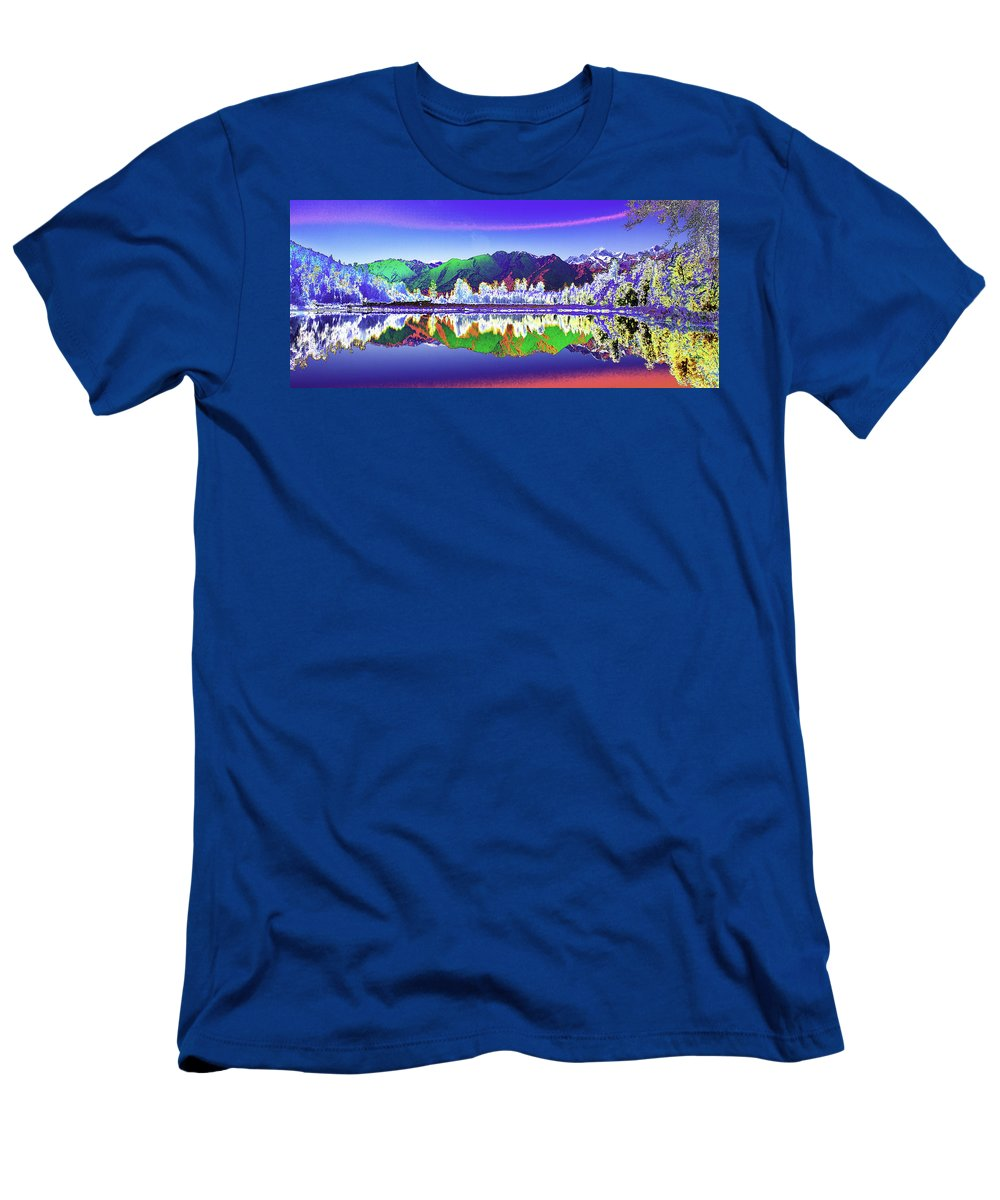 New Zealand Men's T-Shirt (Athletic Fit) featuring the photograph Psychedelic Lake Matheson New Zealand by Peter Lloyd