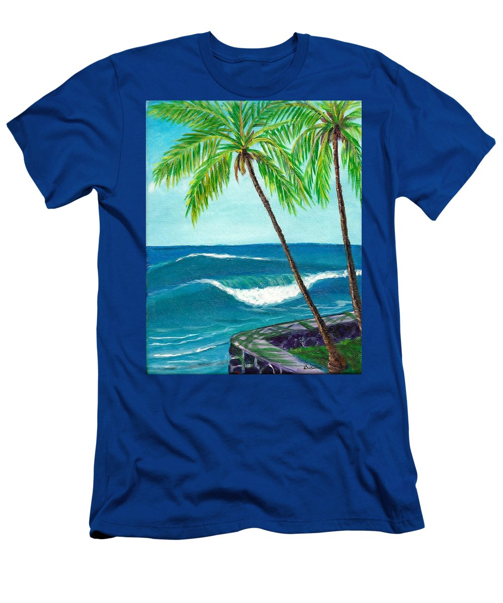 Men's T-Shirt (Athletic Fit) featuring the painting Puako Sea Wall by Suzanne MacAdam
