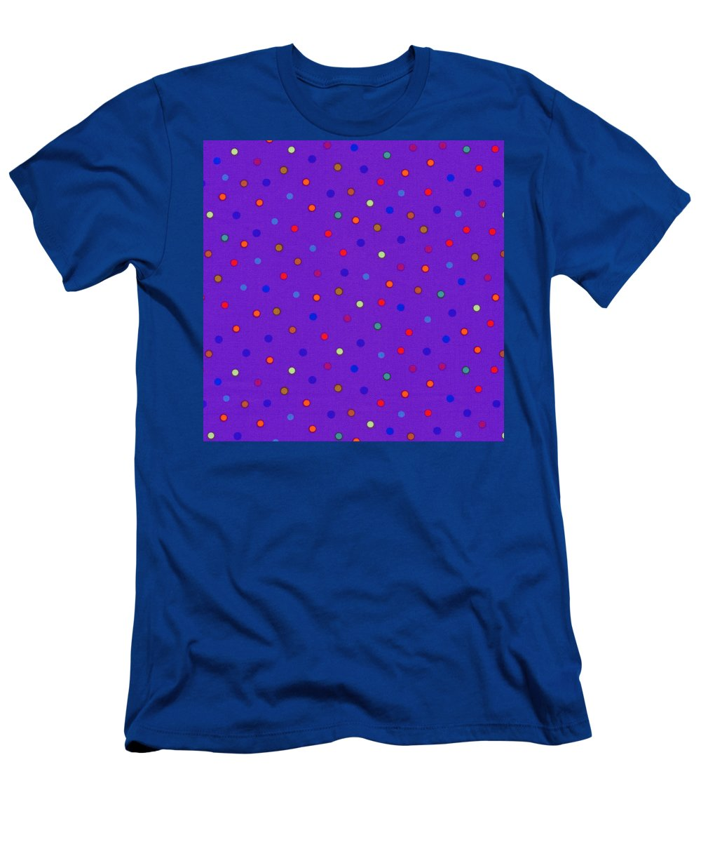 Polka Dots Men's T-Shirt (Athletic Fit) featuring the photograph Red And Blue Polka Dots On Purple Fabric Background by Keith Webber Jr