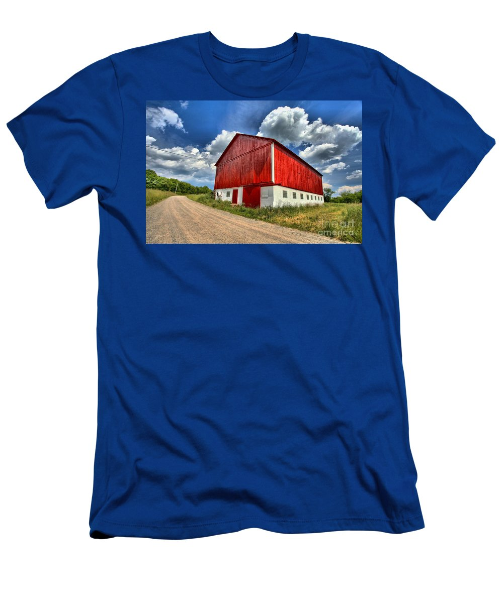 Covered Bridge Men's T-Shirt (Athletic Fit) featuring the photograph Red Country Barn by Adam Jewell