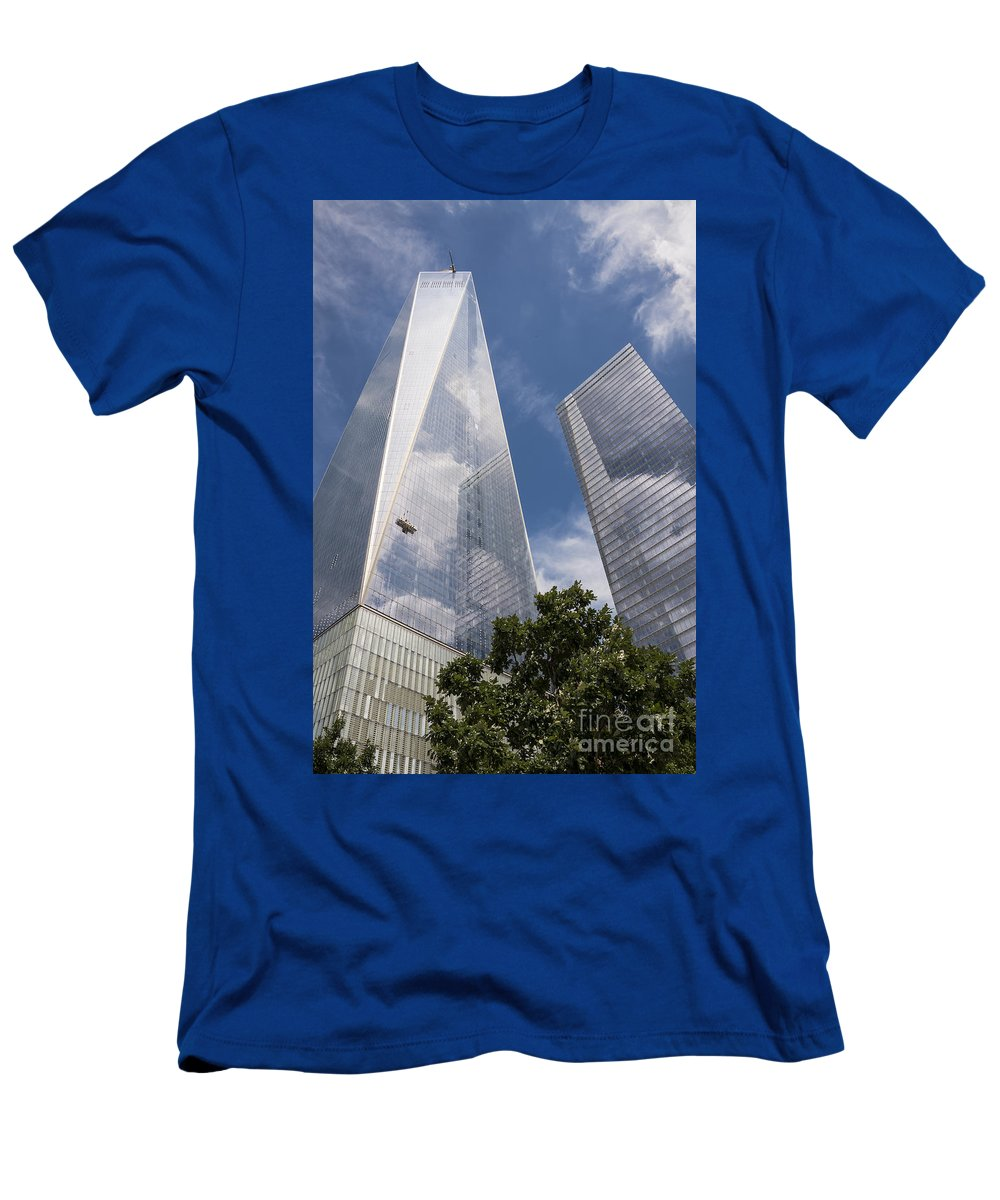 World Trade Center New York City Cityscape Cityscapes Building Buildings Architecture Cities Structure Structures Skyscraper Skyscrapers Line Lines Window Windows Reflection Reflections Cloud Clouds Men's T-Shirt (Athletic Fit) featuring the photograph Reflective Skyscrapers by Bob Phillips