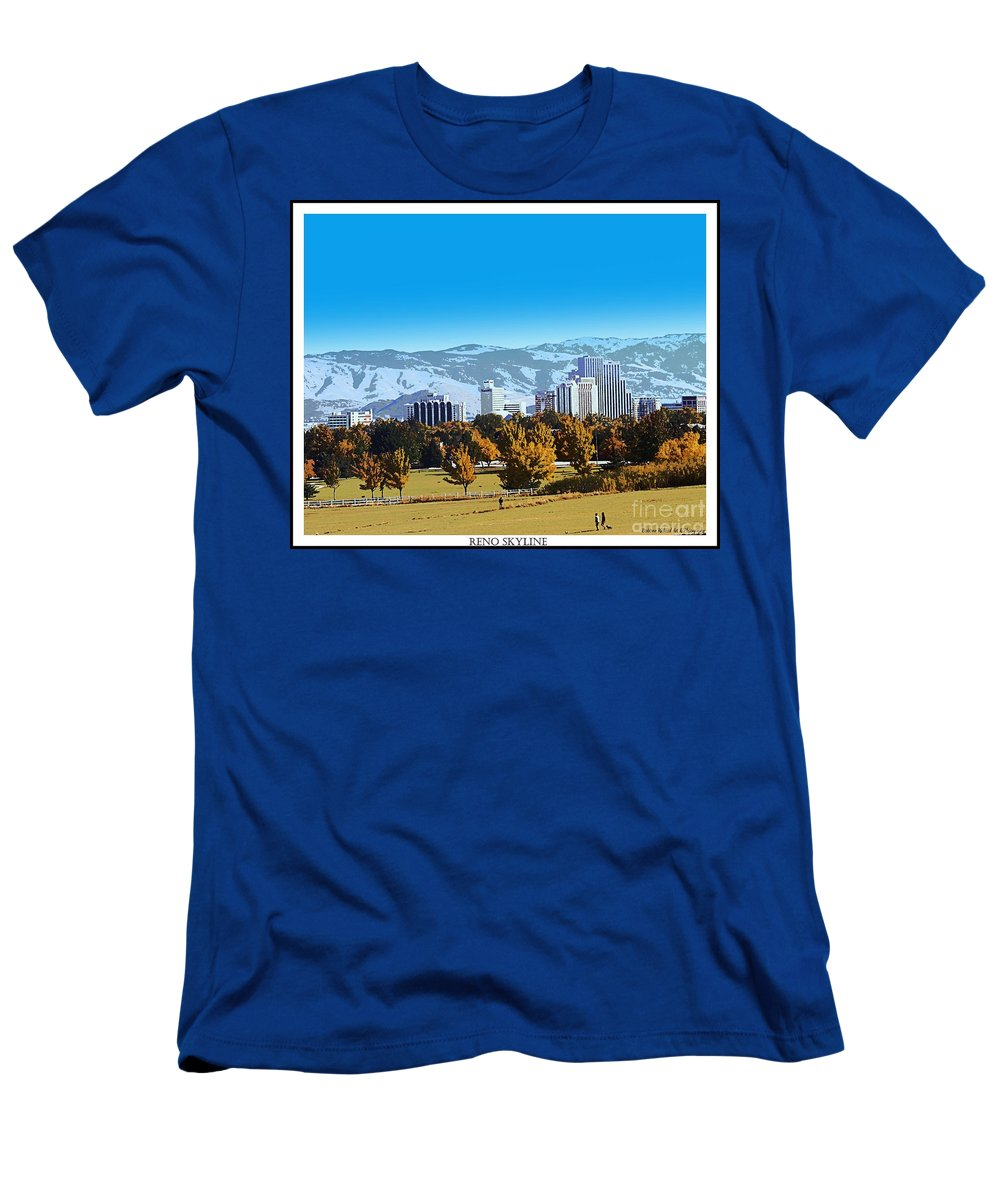 Acrylic Prints Men's T-Shirt (Athletic Fit) featuring the photograph Reno Skyline Poster by Bobbee Rickard