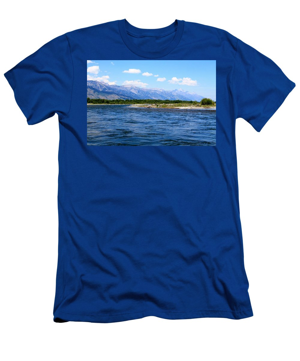 Snake River Men's T-Shirt (Athletic Fit) featuring the photograph Riding The Snake by Catie Canetti