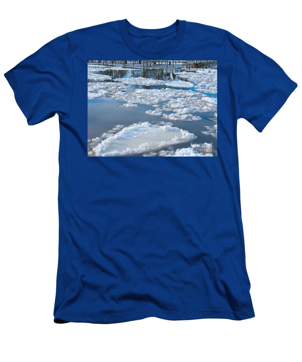 Ice Men's T-Shirt (Athletic Fit) featuring the photograph River Ice by Ann Horn
