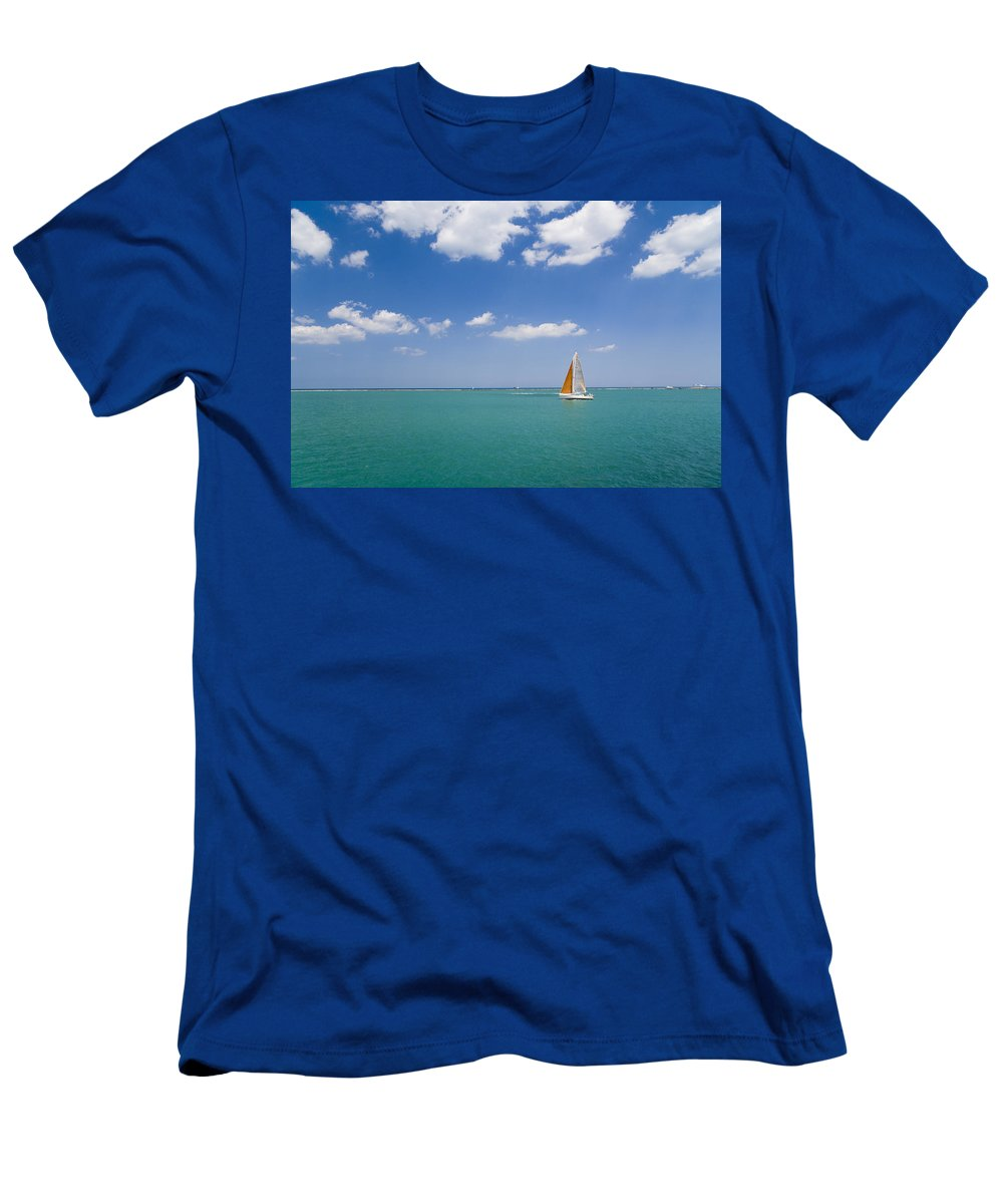 Boat Men's T-Shirt (Athletic Fit) featuring the photograph Sailing by Alexey Stiop