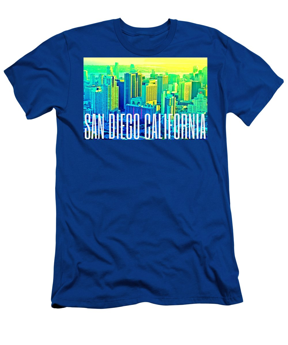 San Diego Men's T-Shirt (Athletic Fit) featuring the digital art San Diego Postcard by Michelle Dallocchio