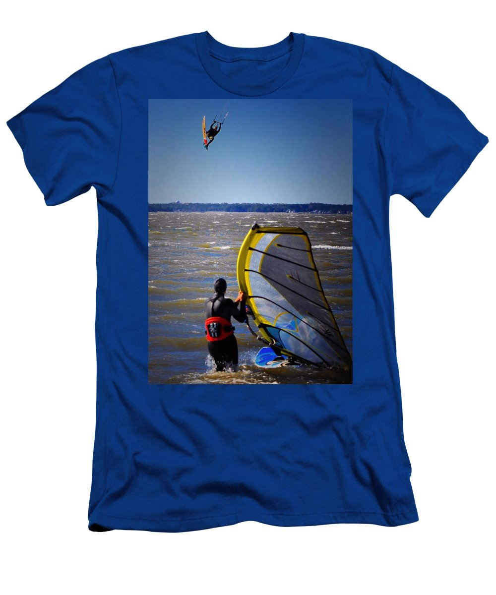 Water Sports Men's T-Shirt (Athletic Fit) featuring the photograph See Ya Roun by Robert McCubbin