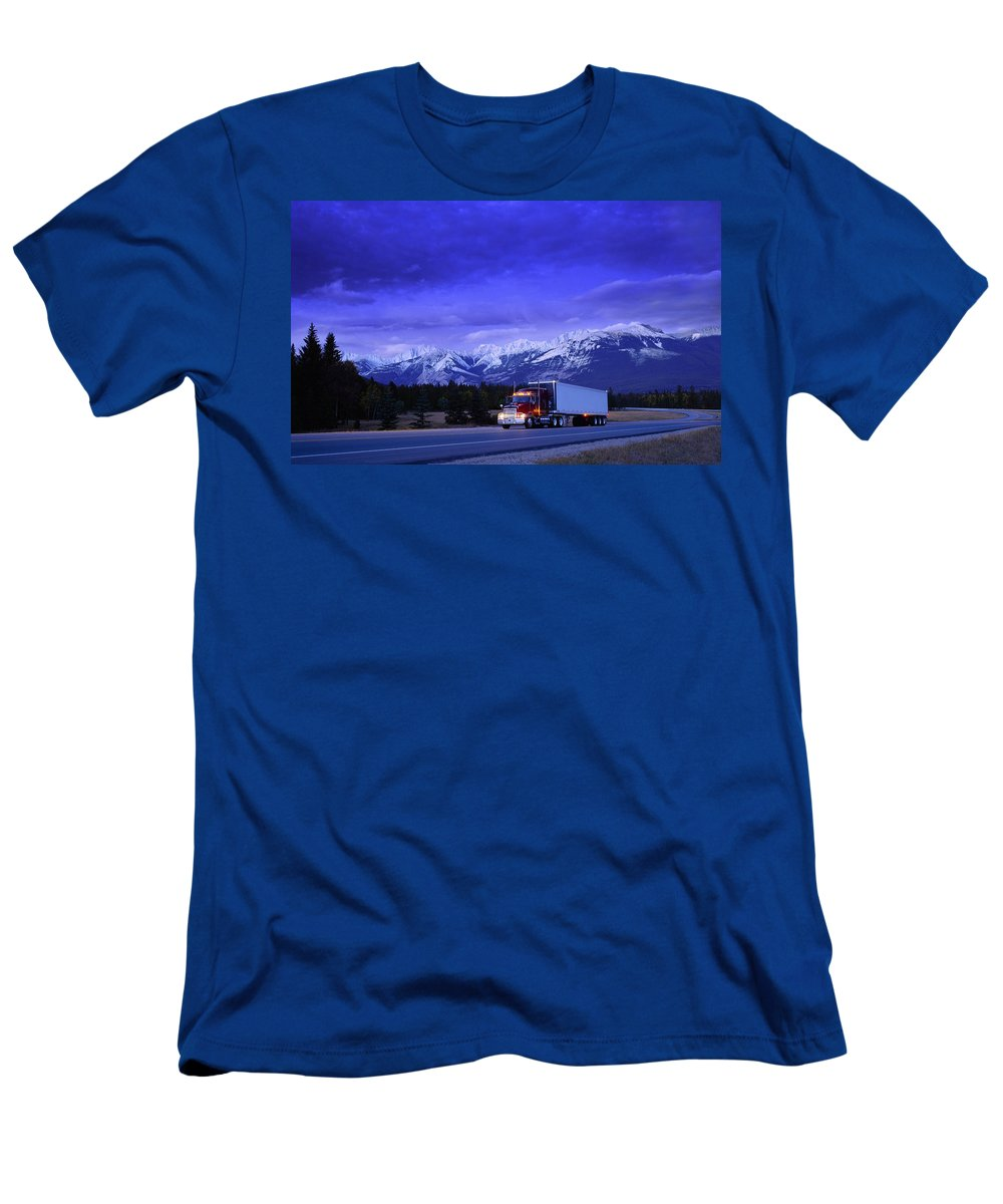Canada Men's T-Shirt (Athletic Fit) featuring the photograph Semi-trailer Truck by Don Hammond